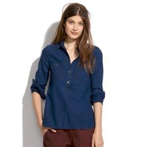 Madewell Pindot Popover Chambray Shirt Sz S